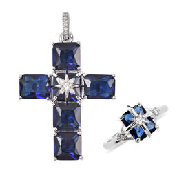 2 Piece Set - Simulated Blue and White Diamond Ring and Cross Pendant with Chain (Size 20 with 3 inc