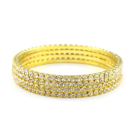One Time Close Out - 4 Piece Set Simulated Diamond (Rnd) Bangle (Size 7.25) in Gold Tone