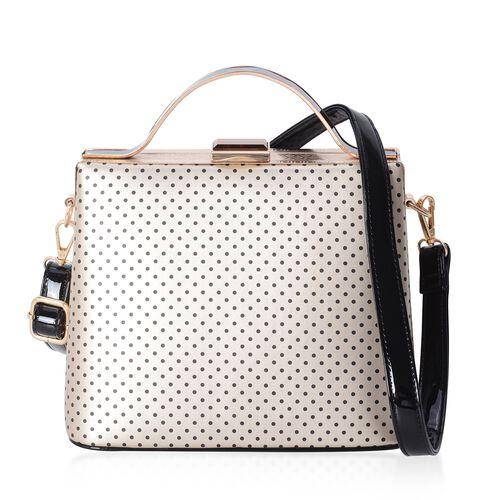 Boutique Collection Vintage Style Polka Dot Golden Colour Handbag with Removable Shoulder Strap (Siz