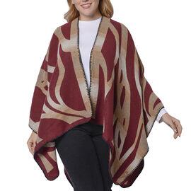 Wine and Brown Colour Raised Grain Pattern Blanket Kimono (Size 133x70 Cm)