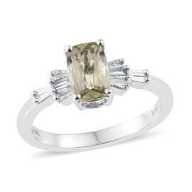ILIANA 18K White Gold AAA Turkizite (Cush), Diamond (SI/G-H) Ring 1.250 Ct