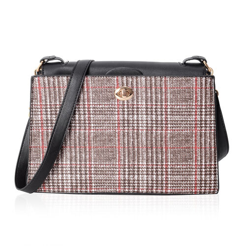 Super Chic Houndstooth Pattern Cross Body Bag (Size 27.5x19x9 Cm)