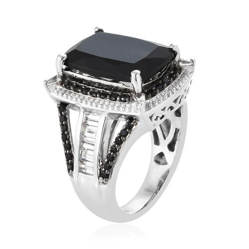 Black Tourmaline (Cush 6.35 Ct),Boi Ploi Black Spinel and White Topaz Ring in Platinum Overlay Sterling Silver 7.750 Ct, Silver wt 6.38 Gms.