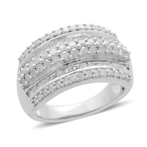 Diamond (Rnd) Ring in Platinum Overlay Sterling Silver 1.500 Ct.