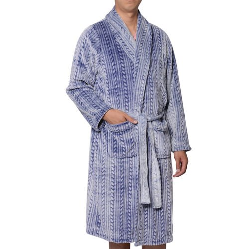 Soft Long Flannel Robe with Waistband (Size 70x120cm/One size)  -Navy Color
