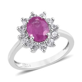 Rare Size 2.50 Ct Ilakaka Pink Sapphire and Zircon Floral Halo Ring in Platinum Plated Silver