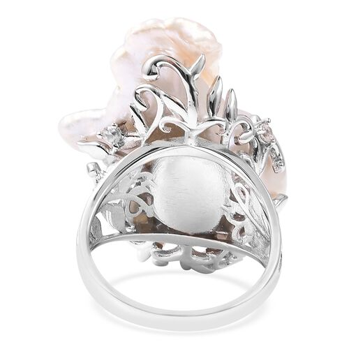 Baroque Freshwater Pearl and Natural Cambodian White Zircon Ring in Rhodium Overlay Sterling Silver, Silver wt 5.25 Gms