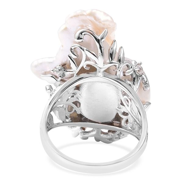 Baroque Fresh Water Pearl and Natural Cambodian White Zircon Ring in Rhodium Overlay Sterling Silver, Silver wt 5.25 Gms
