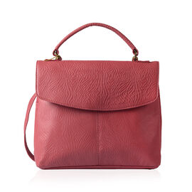 Close Out Deal 100% Genuine Leather Red Water Waved  Embossed RFID Blocker Large Satchel Bag (Size 4