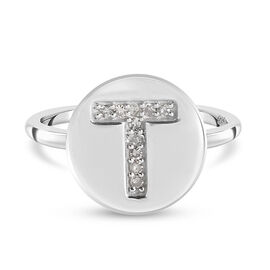 White Diamond Initial-T Ring in Platinum Overlay Sterling Silver