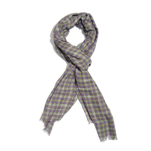 Italian Designer Inspired Purple, Grey and Green Colour Checks Pattern Scarf (Size 190x150 Cm) 5% CASHMERE WOOL, 65% MICRO MODAL & 30% MERCERIZED COTTON