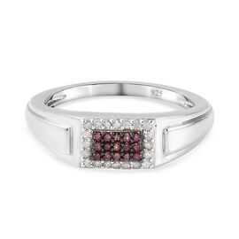 Purple Diamond and White Diamond Ring in Platinum Overlay Sterling Silver