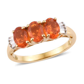 Jalisco Fire Opal (Ovl 6x4 mm), Diamond Ring in 14K Gold Overlay Sterling Silver 1.00 Ct.