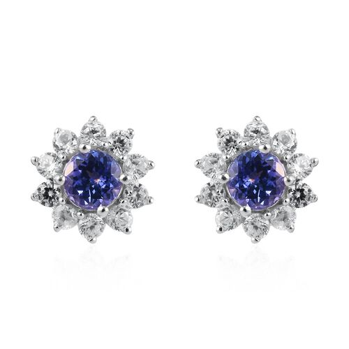 9K White Gold Tanzanite and Natural Cambodian Zircon Floral Stud Earrings (with Push Back)