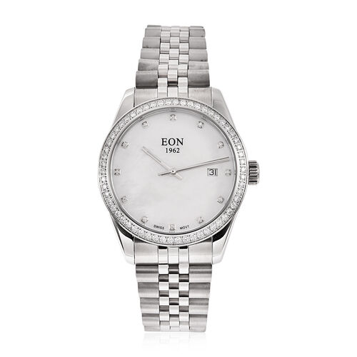 EON 1962 Swiss Movement 5ATM Water Resistant Watch with White Moissanite Embellishments, Mother of P