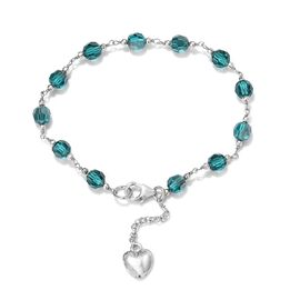 J Francis - Crystal from Swarovski Blue Zircon Crystal Bracelet (Size 7.5) with Heart Charm Sterling