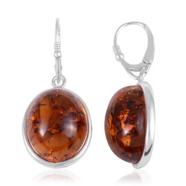 Baltic Amber Lever Back Earrings in Sterling Silver