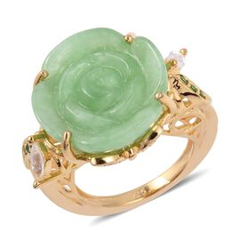 Carved Green Jade,White Topaz and Russian Diopside Flower Ring (Size N) in Yellow Gold Overlay Sterling Silve