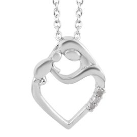 Diamond (Rnd) Mother Child Love Pendant with Chain in Platinum Overlay Sterling Silver 0.03 Ct.