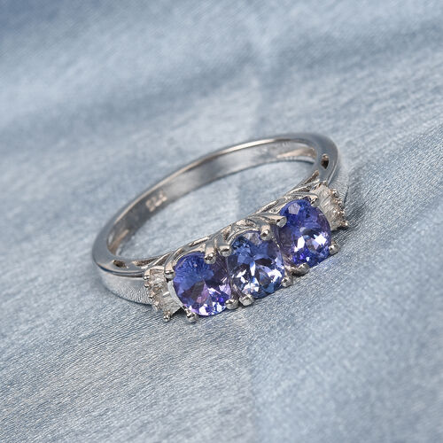Premium Tanzanite and Diamond Ring in Platinum Overlay Sterling Silver 1.25 Ct.