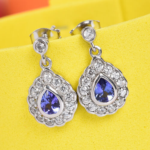 AAA Tanzanite and Natural Cambodian Zircon Dangle Earrings (with Push Back) in Platinum Overlay Sterling Silver 1.42 Ct.