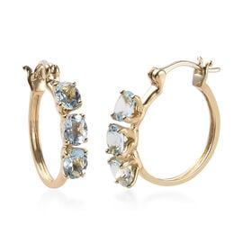 9K Yellow Gold AA Espirito Santo Aquamarine (Ovl) Earrings (with Clasp Lock) 1.90 Ct.