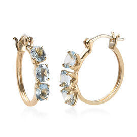 1.90 Ct AA Espirito Santo Aquamarine Hoop Earrings in 9K Gold