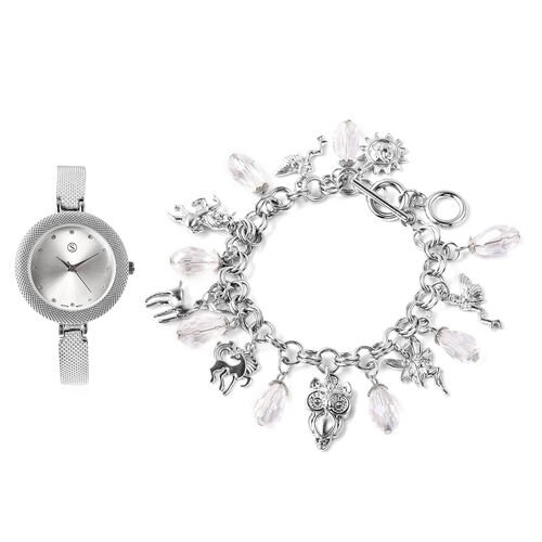 2 Piece Set - STRADA Japanese Movement White Austrian Crystal Studded Water Resistant Watch and Whit