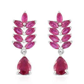 African Ruby (Pear and Mrq) Earrings in Platinum Overlay Sterling Silver 6.250 Ct