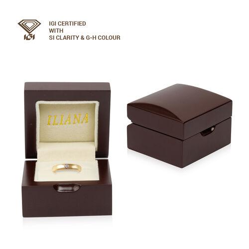 ILIANA 18K Yellow Gold IGI Certified Diamond (SI/G-H) Flush Set Solitaire Band Ring, Gold wt 5.00 Gms