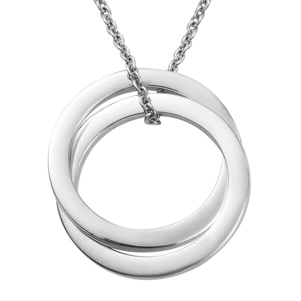 Platinum Overlay Sterling Silver Pendant with Chain (Size 18), Silver wt 5.90 Gms