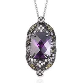 Simulated Amethyst and Simulated Diamond Pendant With Chain 20 Inch