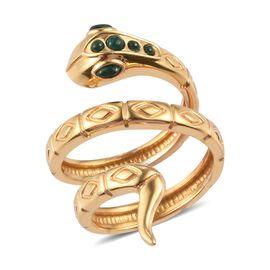 Sundays Child - Malachite Snake Ring in 14K Gold Overlay Sterling Silver