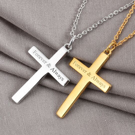 Personalise Engraved Cross Pendant in Silver