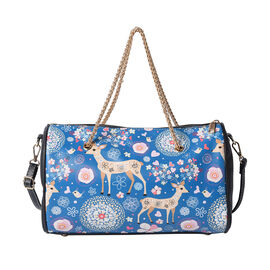 Deer Pattern Crossbody Bag with Metallic Chain Handle Drop and Adjustable Shoulder Strap (30x14x18cm