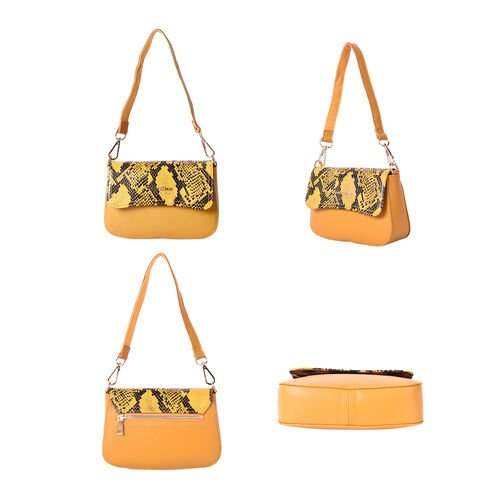 SENCILLEZ 100% Genuine Leather Crossbody Bag with Detachable Strap and Snake Skin Pattern Flap (Size 20x16x6cm) - Mustard