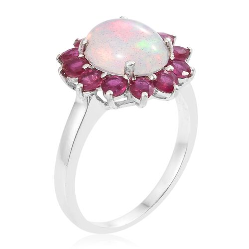 Limited Available - Ethiopian Welo Opal (Ovl 11x9mm, 2.00 Ct), African Ruby (Rnd 2.00 Ct) Ring in Platinum Overlay Sterling Silver