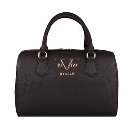 19V69 ITALIA by Alessandro Versace Litchi Pattern Bowling Bag with Detachable Shoulder Strap and Zipper Closure (Size 29x15x18Cm) - Brown