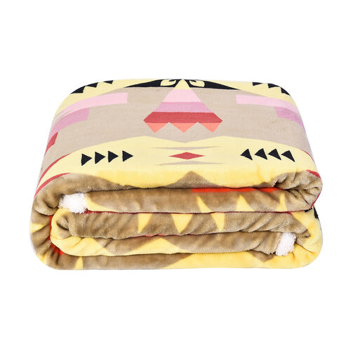 Serenity Night - Santa Fe Collection - Flannel Sherpa Blanket (200x150cm) - Yellow and Multicolour -
