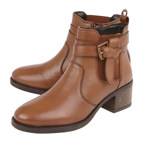 Lotus Janet Leather Ladies Ankle Boots (Size 6) - Tan