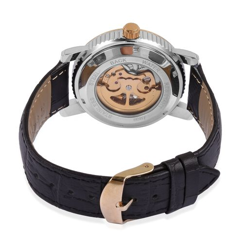 GENOA Automatic Skeleton Blue and Golden Dial Water Resistant Watch in Dual Tone with Black Leather Strap