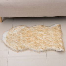 Faux Sheep Skin Rug (Size 100x60 Cm) - White and Beige