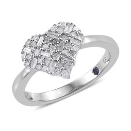 GP Diamond (Bgt and Rnd), Kanchanaburi Blue Sapphire Heart Ring in Platinum Overlay Sterling Silver