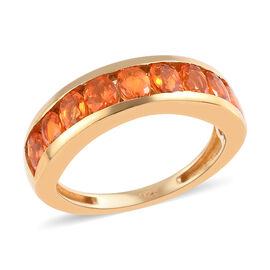 One Time Close Out Deal- Jalisco Fire Opal Half Eternity Band Ring in 14K Gold Overlay Sterling Silv