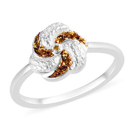 Yellow Diamond Swirl Design Ring in Sterling Silver