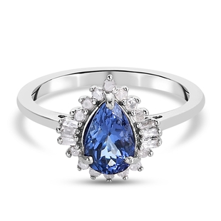 Premium Tanzanite and Diamond Halo Ring in Platinum Overlay Sterling Silver 1.43  Ct.