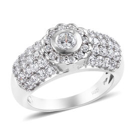 J Francis Platinum Overlay Sterling Silver Cluster Ring Made with SWAROVSKI ZIRCONIA 2.50 Ct.
