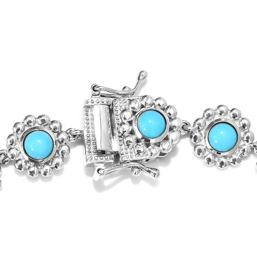 Arizona Sleeping Beauty Turquoise Floral Link Bracelet (Size 7.5) in Platinum Overlay Sterling Silver wt 11.90 Gms