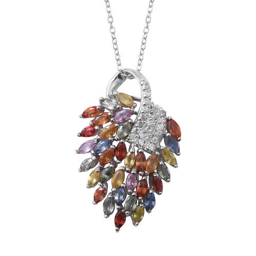 4.62 Ct Rainbow Sapphire and Zircon Pendant with Chain in Rhodium Plated Silver