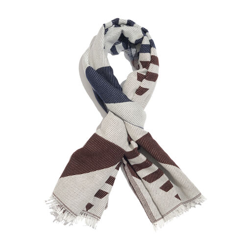 Chocolate, Blue and Off White Colour Stripes and Geometrical Pattern Scarf with Fringes (Size 190X70